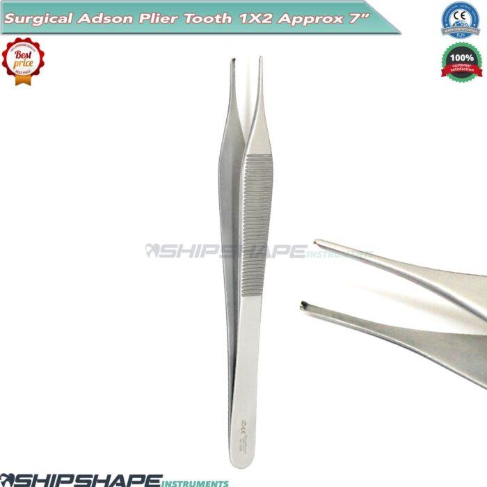 "Adson Forceps 7"" Dressing Kocher Tweezers 1x2 Teeth Forceps/Pliers Dental Instruments-0"