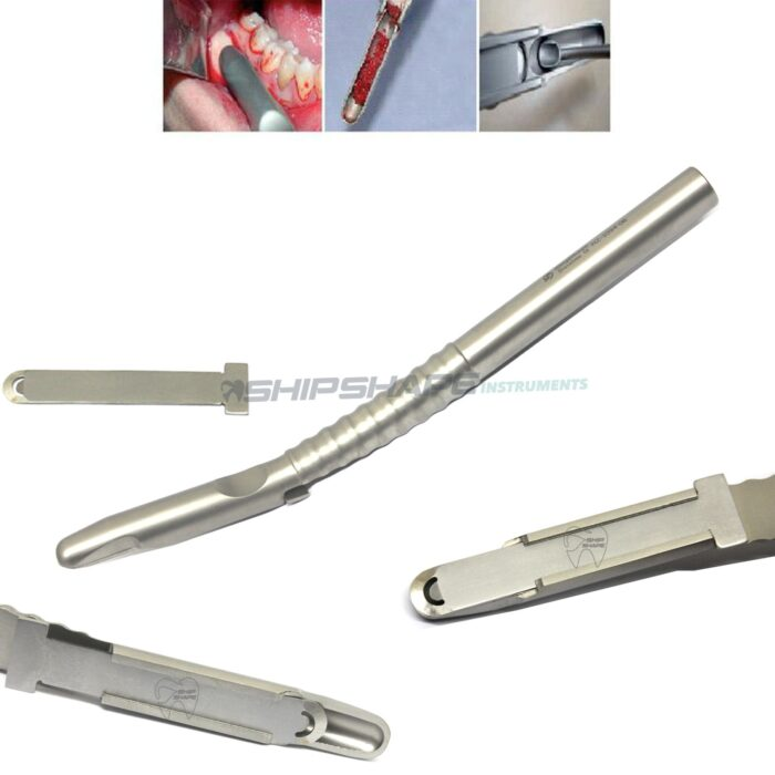 Dental Implant Bone Scraper Curved Grafting Bone Surgery Instrument Stainless Steel Tool Surgical Collector (Included 1 Blade)-0