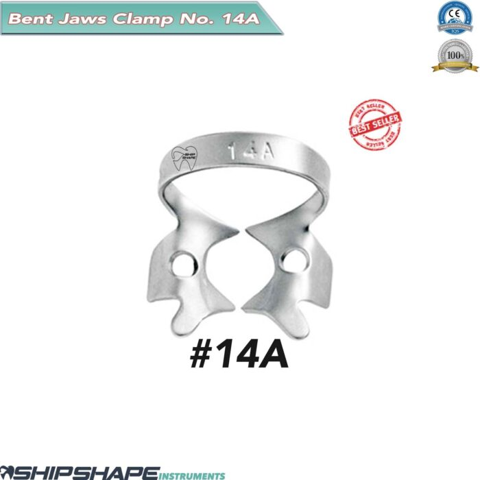 Rubber Dam Clamp # 14A with Bent Jaws for Molars TM SS 14A-0